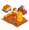 farming agrimotor isometric composition vector image vector image