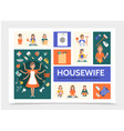 flat housewife infographic template vector image vector image