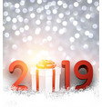 grey bokeh 2019 new year background with gift box vector image vector image