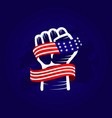 hand and flag usa template design vector image