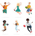 happy group multi ethic students friends vector image
