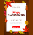 happy thanksgiving sale poster special offer vector image vector image