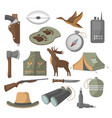 hunting icons set in cartoon style vector image vector image