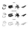 isolated object of tree and raw symbol collection vector image vector image