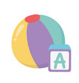 kids zone toys alphabet block and ball cartoon vector image vector image