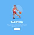 male basketball player in sports uniform playing vector image