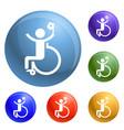 man prosthesis leg icons set vector image