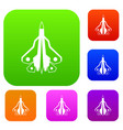 military fighter plane set collection vector image vector image