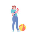 nanny character playing with child vector image