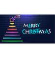 neon christmas tree vector image vector image