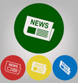newspaper sign 4 white styles of icon at vector image vector image