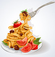 Pasta with tomato and meat sauce vector image vector image
