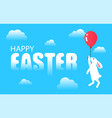 rabbit with balloon in sky among clouds vector image vector image