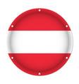 round metallic flag of austria with screw holes vector image vector image