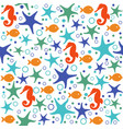 seamless pattern with seashells and starfishes vector image