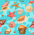 seamless pattern with seashells tropical vector image vector image