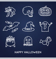 set linear halloween icons vector image