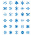 set of different blue snowflakes vector image vector image