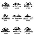 set of mountain icons isolated on white vector image vector image