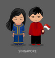 singaporeans in national dress with a flag vector image vector image