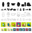 spa salon and equipment flat icons in set vector image