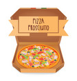 the real pizza prosciutt italian pizza in box vector image