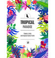 tropical paradise frame background poster vector image vector image