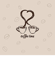 Two cups of coffee and lettering vector image