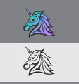 unicorn logo icon vector image vector image