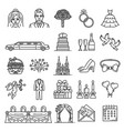 wedding and marriage ceremony icons vector image vector image