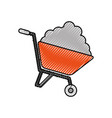 wheelbarrow with cement construction equipment vector image vector image
