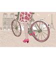 Woman Riding a Bike in Paris vector image