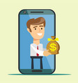 young man from smartphone screen giving money bag vector image