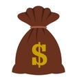 Bag with dollars icon flat style vector image vector image