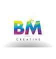 bm b m colorful letter origami triangles design vector image