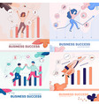 business success banner set happy businesspeople vector image