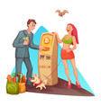 cartoon man at bitcoin atm vector image vector image