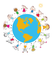 Children around the earth vector | Price: 1 Credit (USD $1)