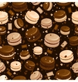 Chocolate macaroon and coffee seamless background vector image