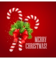 Christmas candy cane with holly and red bow vector image vector image