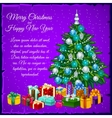 Christmas tree with presents and text vector image vector image