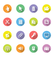 colorful flat icon set 3 on circle long shadow vector image vector image