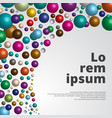 colorful glossy 3d spheres background vector image