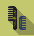 comb hairbrush simple silhouette flat icon with vector image