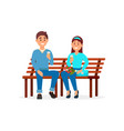 couple in love sitting on the park bench vector image vector image