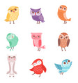 cute cartoon colorful owls set lovely owlets vector image vector image