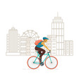 cyclist riding on modern city background vector image vector image