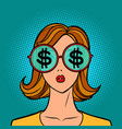 dollars money finance young woman in stylish vector image