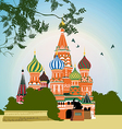 Domes of the famous Head of St Basils Cathedral on vector image