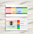 elegant white business card with color shapes vector image vector image